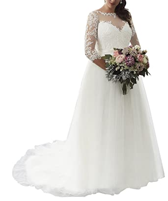Plus Size Wedding Dress for Bride Illusion Neckline with Half ...