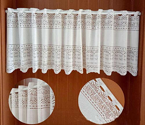 European Style White Floral Pattern Polyester Lace Curtain Valance for Kitchen Bath Bedroom Living Room 59 x 17 inch