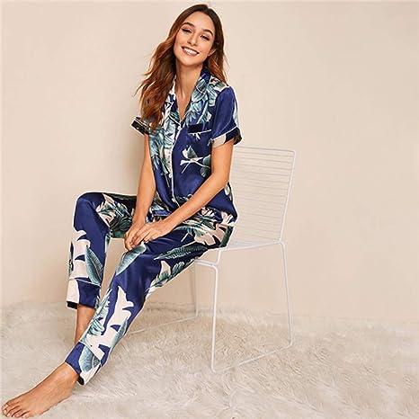 WJFGGXHK Pijama De Verano Mujer,Impresión Tropical Pijamas De ...
