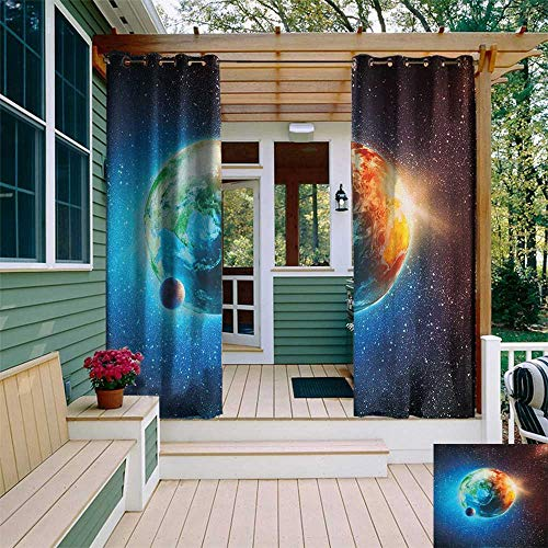 (leinuoyi Earth, Outdoor Curtain Grommet, Majestic Galaxy Outer Space View Universe with Planet Earth Stars Astral Theme, for Patio W108 x L108 Inch Orange Blue Black)