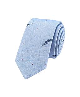 De Markt Stripe Necktie Cotton Skinny Tie for Weddings,Groom,Groomsmen,Missions,Dances