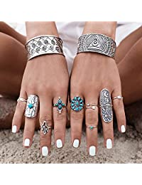 Gigamax(TM) 9Pcs/Set Vintage Ring Set Unique Carved Antique Silver Knuckle Rings for Women Gypsy Midi Anel Boho Beach Jewelry Joint Ring Set