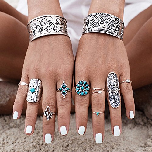 SlimArmor(TM) 9Pcs/Set Vintage Ring Set Unique Carved Antique Silver Knuckle Rings for Women Gypsy Midi Anel Beach Jewelry Joint Ring - Anel Women