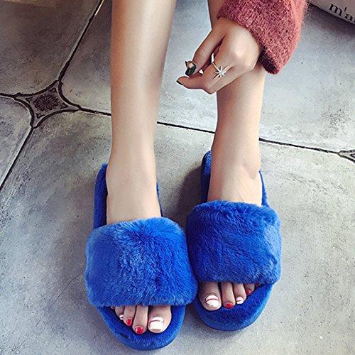 LaxBa L'hiver au chaud, l'hiver Chaussons Chaussons moelleux Accueil chaleureux en hiver, chaussures antiglisse Chambre chaussons bleu trésor mot38-39 (habituellement 37-38 pieds)