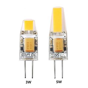 Eleganantamazing - Bombilla LED G4 3 W/5 W 12 V COB Bombilla de Repuesto halógena de Alta luminosidad para lámpara de araña: Amazon.es: Hogar