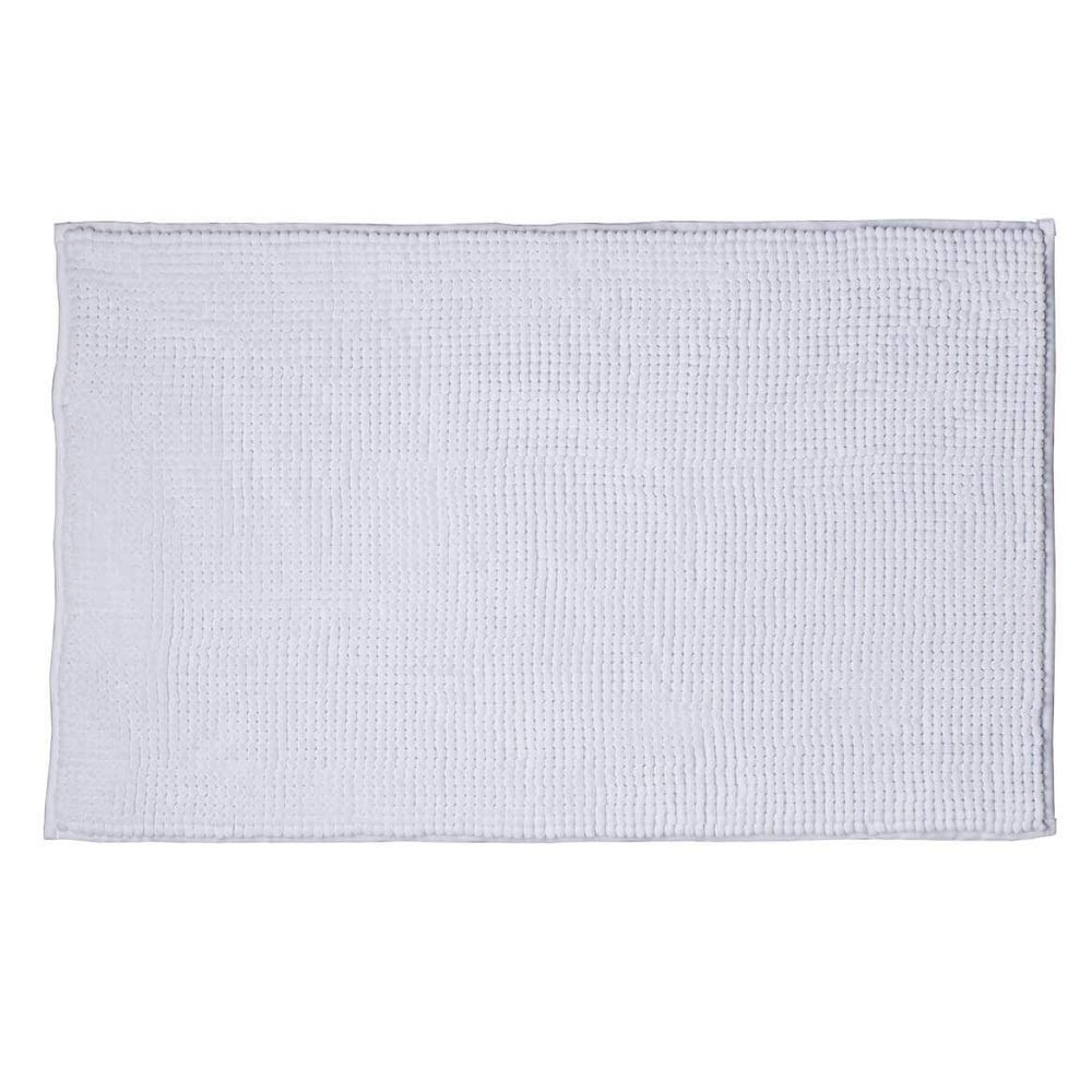 MS HOME Highly Absorbent Hypoallergenic Poly Microfiber w/Cushion Bath Mat - Durable, Sturdy, Ultra-Soft, Non-Slid - 34'' x 21'' (White)