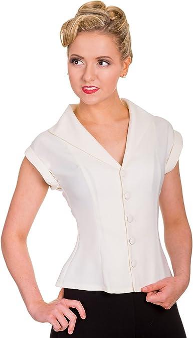 Mujer Formal Entallado Inspiración Vintage Camisa Manga Corta Blusa Top Excelente Calidad - sintético, Blanco Roto, 100% poliéster, mujer, 8 XS: Amazon.es: Ropa y accesorios