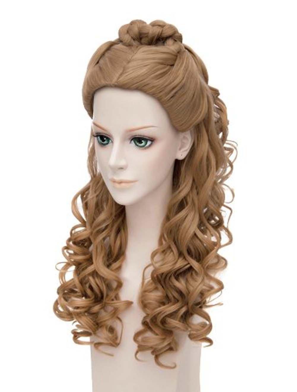 Etruke Anime largo marrón Cenicienta Live Action Movie rizado cosplay peluca: Amazon.es: Belleza