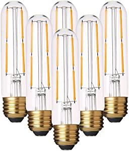 Dimmable T10 LED Bulbs Warm White 2700K LED Tubular Edison Light Bulbs 4W Tube Vintage Led Bulbs 40 Watt Equivalent,E26 Base, LED Filament Retro Bulb for Desk Lamp, Pendant Lights,6 Pack