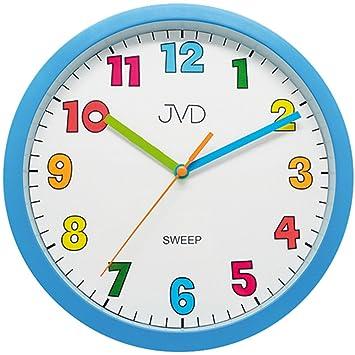 JVD HA46.1 Wanduhr für Kinder Kinderwanduhr blau hellblau leise ohne ...