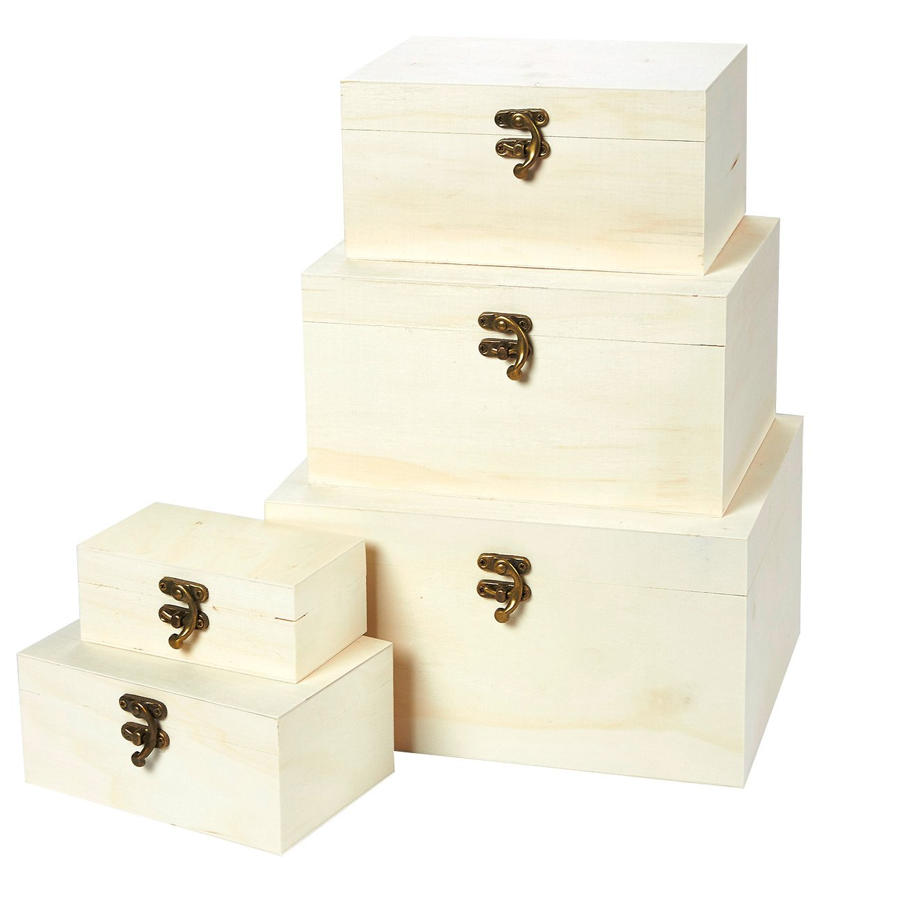 Juvale Wooden Boxes - 5-Piece Hinged-Lid Nesting Boxes for Arts, Crafts, Hobbies and Home Storage, Unfinished Wood, Natural Wood Color