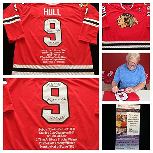 Bobby Hull Chicago Blackhawks Signed Autograph Red Stat J...