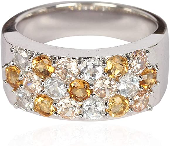 Natural Citrine 925 Sterling Silver Rings Silver Jewelry