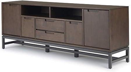 Muebles de madera y estilo de madera maciza de 72 pulgadas de ancho, moderno, industrial, soporte