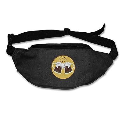 Unisex Pockets Cheer Beer Fanny Pack Waist / Bum Bag Adjustable Belt Bags Running Cycling Fishing Sport Waist Bags Black