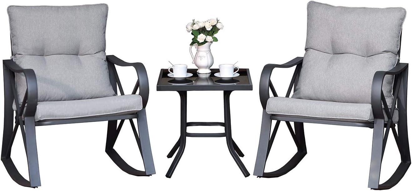 Amazon Com Cosiest 3 Piece Bistro Set Patio Rocking Chairs Outdoor Furniture W Warm Gray Cushions Glass Top Table For Garden Pool Backyard Garden Outdoor