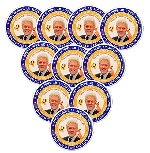 Pack-10 Bill Clinton (Leo Fire Dog) 42th President Pin-Back Button (2.25