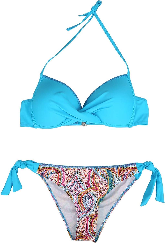 Damen Bikini Sets Bademode Push Up Zweiteilige Neckholder Bikini mit Seitlich Gebunden Bikini Slips