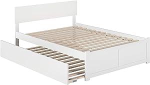 Atlantic Furniture Orlando Platform Flat Panel Foot Board and Full Size Urban Trundle Bed, White