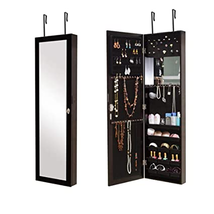 Amazoncom Organizedlife Brown Mirror Jewelry Cabinet Hanging