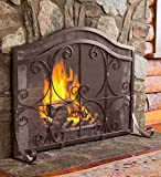 Crest Large Flat Guard Fireplace Screen Wrought Iron Heavy Duty Metal Mesh Decorative Scroll Work Copper Powder Coat Finish Free Standing Spark Guard, 38 W x 31 H at center, 25.25 H at ends