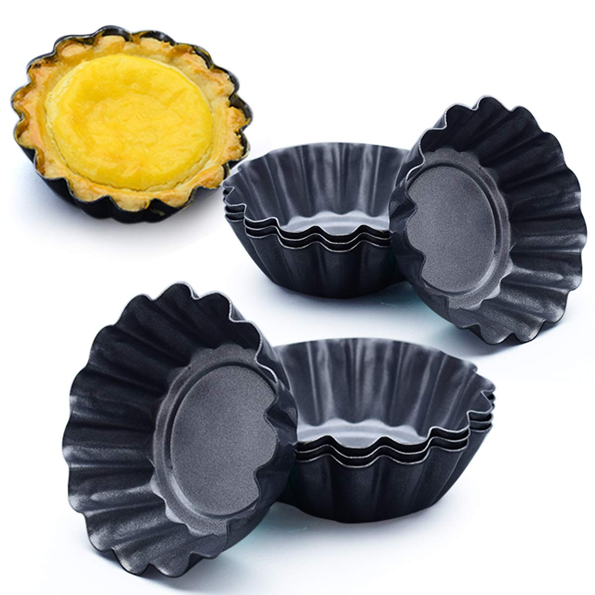 Amytalk 12 Packs Egg Tart Mold, Upgrade Bigger Size 3 x 0.9inch, Cupcake Cake Muffin Mold Tin Pan Baking Tool, Carbon Steel by Amytalk