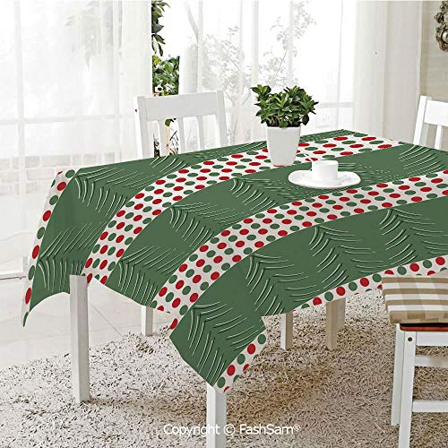 AmaUncle 3D Dinner Print Tablecloths Pine Tree Design with Curved Lines Chevrons Polka Dots Decorative Table Protectors for Family Dinners (W55 xL72) -