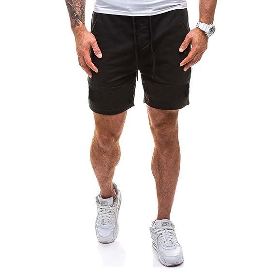 9fcfb46da5f5 Juqilu Kurze Sporthose Herren - Jogging Shorts Mode Einfarbig Elastische  Taille Hose mit Taschen Sommer Sweatpants