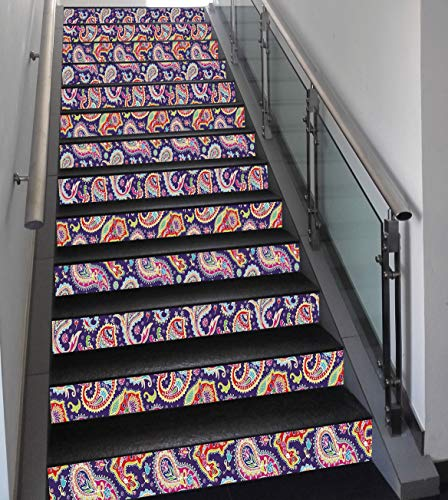 Stair Stickers Wall Stickers,13 PCS Self-adhesive,Paisley Decor,60s and 70s Hippie Themed Motives with Geometrical and Floral Design Image,Purple,Stair Riser Decal for Living Room, Hall, Kids Room Dec ()