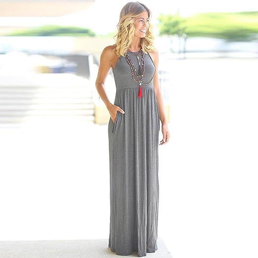 Vestidos Mujer Casual,Mujer sólido Largo Vestido Bohemio Lady Playa Verano Sundrss Maxi Vestido LMMVP (XXL, Gris): Amazon.es: Hogar