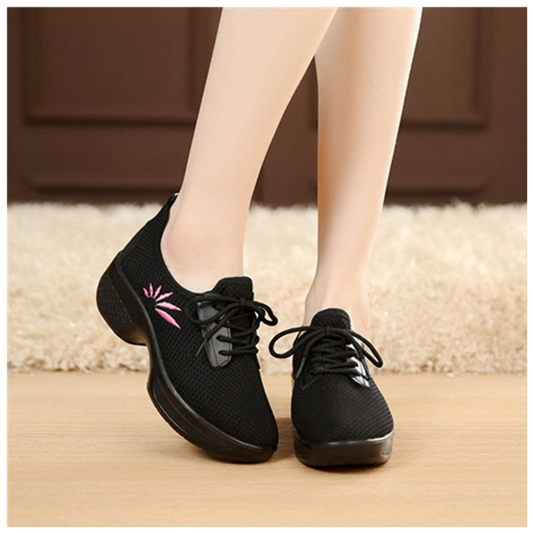 vermers Clearance Women Casual Sport Shoes - Fashion Walking Flats Increasing Mesh Embroidery Wedges Shoes(US:7, Black)