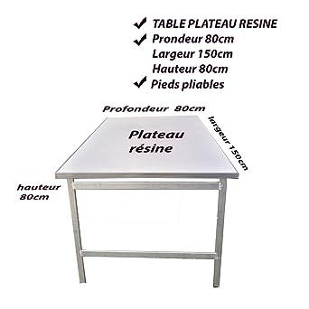 Table Aluminium Plateau Resine 80 Par 150cm Pieds Pliables