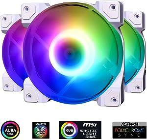 ID-COOLING DF-12025-ARGB Trio Snow Case Fan CPU Cooling Fan Addressable RGB Case Fan 5V ARGB MB Aura Sync PWM Fan for CPU Cooler/Raidator/PC Chassis