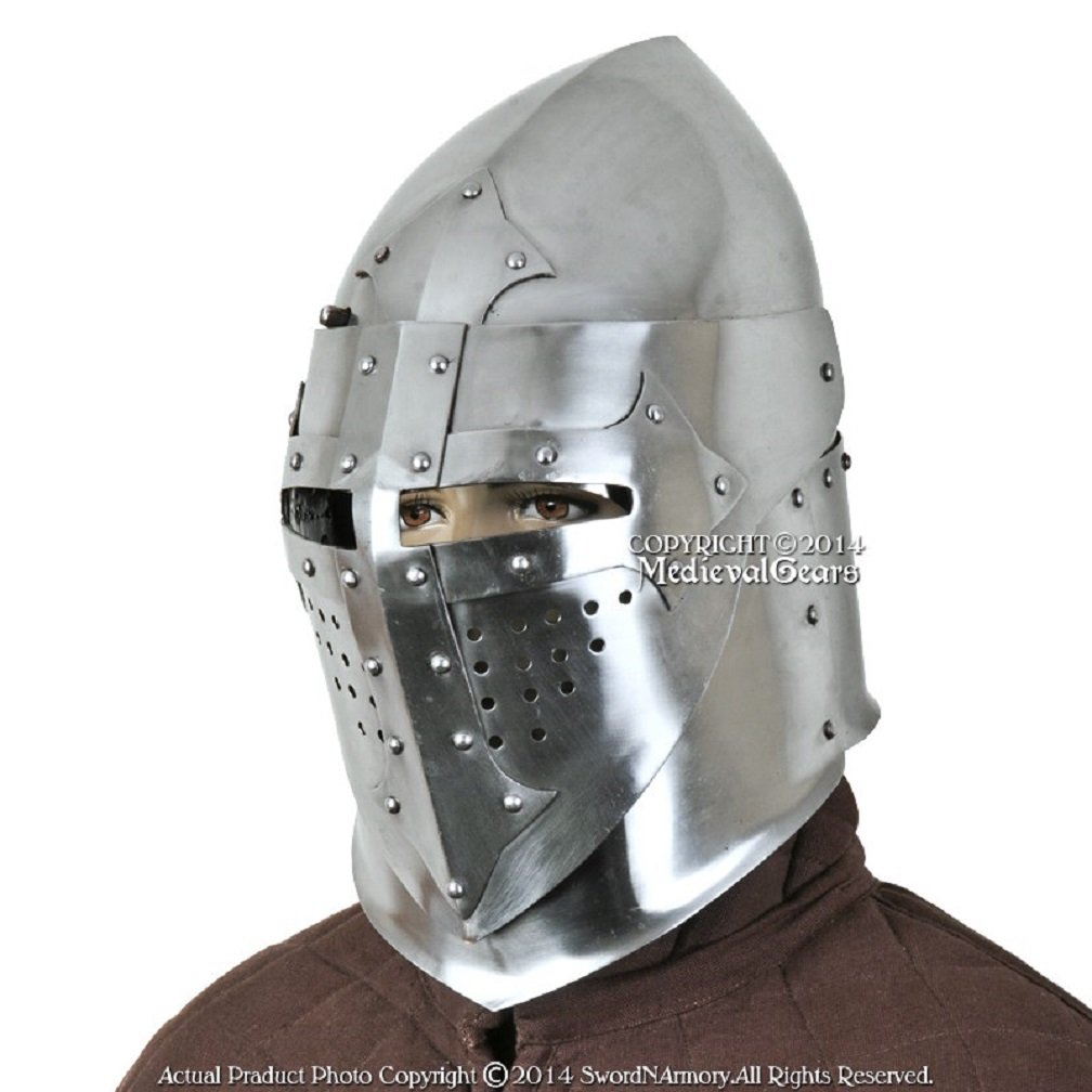 Functional 16G Steel Medieval Knight Pig Face Bascinet Helmet WMA SCA LARP Armor by Medieval Gears (Image #1)