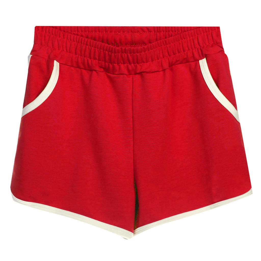 Running Shorts Women Pocket,Women's Sports Shorts Casual Hot Pants Home Shorts Cotton Plus Size Shorts,Women's Fashion,Red,XXXXL