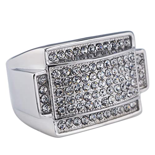 89feab88a1039e NIV'S BLING - 14K White Gold-Plated Iced Out Rectangular Pinky Ring Size 5