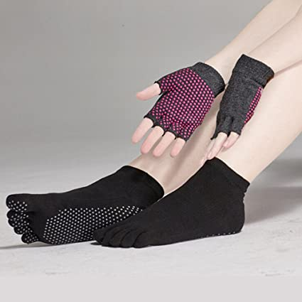 Pixnor Calcetines de Yoga y Yoga Juegos de Guantes con Puntos de Silicona