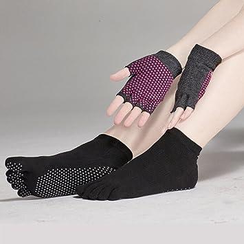 Pixnor Calcetines de yoga y Yoga juegos de guantes con puntos de silicona (negro)