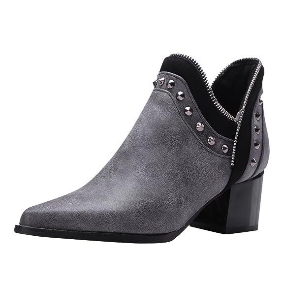 Damen geschlossen Chunky heel Pointed Toe Ankle-Boots mit Nieten (34, Kahki) MissSaSa