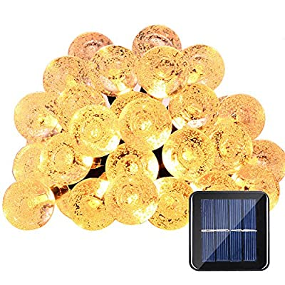 Qedertek Globe Solar String Lights, 19.7ft 30 LED Fairy Lights, Outdoor Solar Lights for Home, Garden, Patio, Lawn, Party and Holiday Decorations