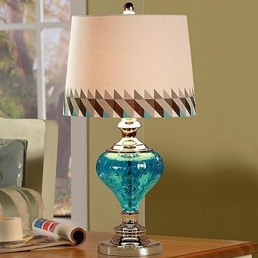 KKY-ENTER Lámpara de mesa de cristal azul creativa clásica salón ...