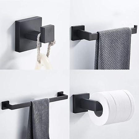 Rustprof LK1930G4 portarotolo con gancio per asciugamani montaggio a parete finitura in nichel spazzolato Set di 4 accessori da bagno in acciaio inox SUS 304