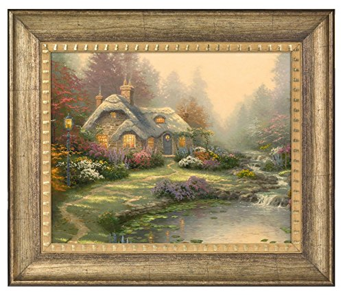 (Thomas Kinkade Everett's Cottage 16 x 20 Brushstroke Vignette (Burnished Gold))