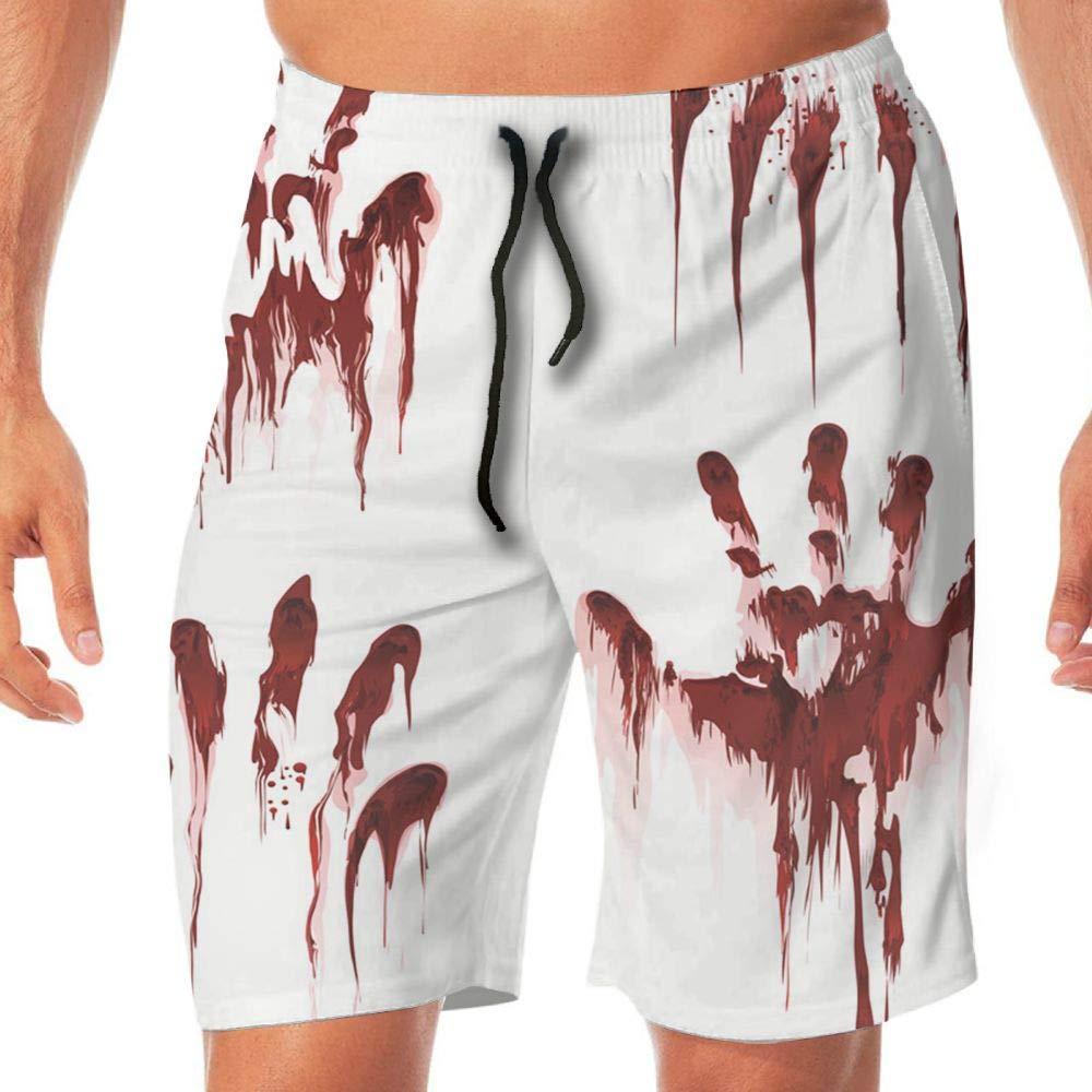 Haixia Men Quick Dry Boardshorts The Bloody Hand On The Glass Felt Terrible L by Haixia