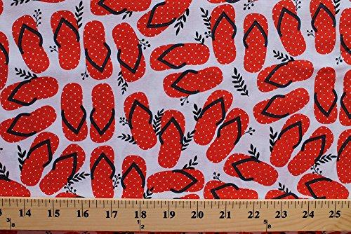 Cotton Flip Flops Flipflops Orange Sandals Shoes Footwear Beach Summer Vacation Swimmers Swim Team White Cotton Fabric Print by the Yard (39327-1)