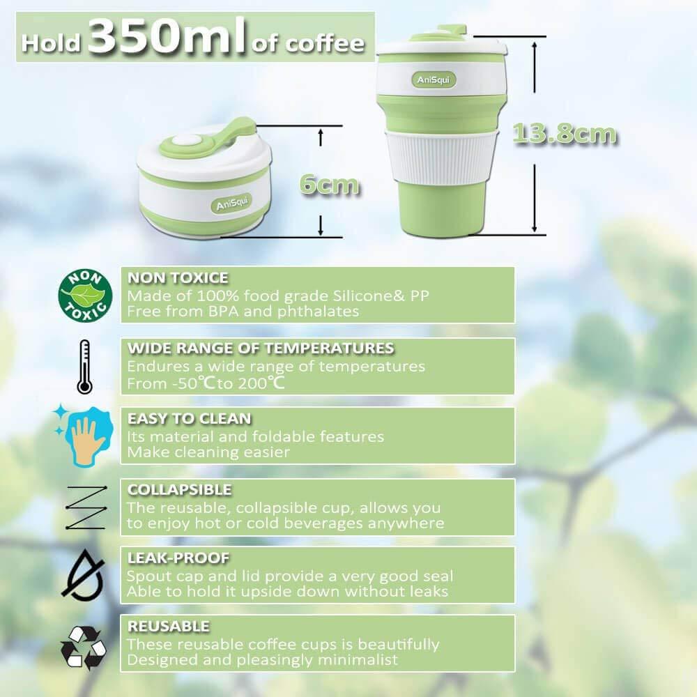 Taza de café plegable de silicona con tapas (350 ml, a prueba de fugas, sin BPA, reutilizable, taza de café, taza de café portátil, tazas de café de viaje, ...