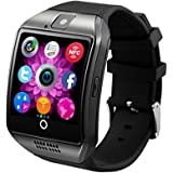 Smart Watch Phone Wireless Bluetooth Sweatproof Smartwatch with Camera Sleep Monitor Fitness Wrist watch for Android Samsung Galaxy S5 S6 S7 HTC Sony LG G3 G4 G5 Edge S8 Google Pixel Huawei (black)