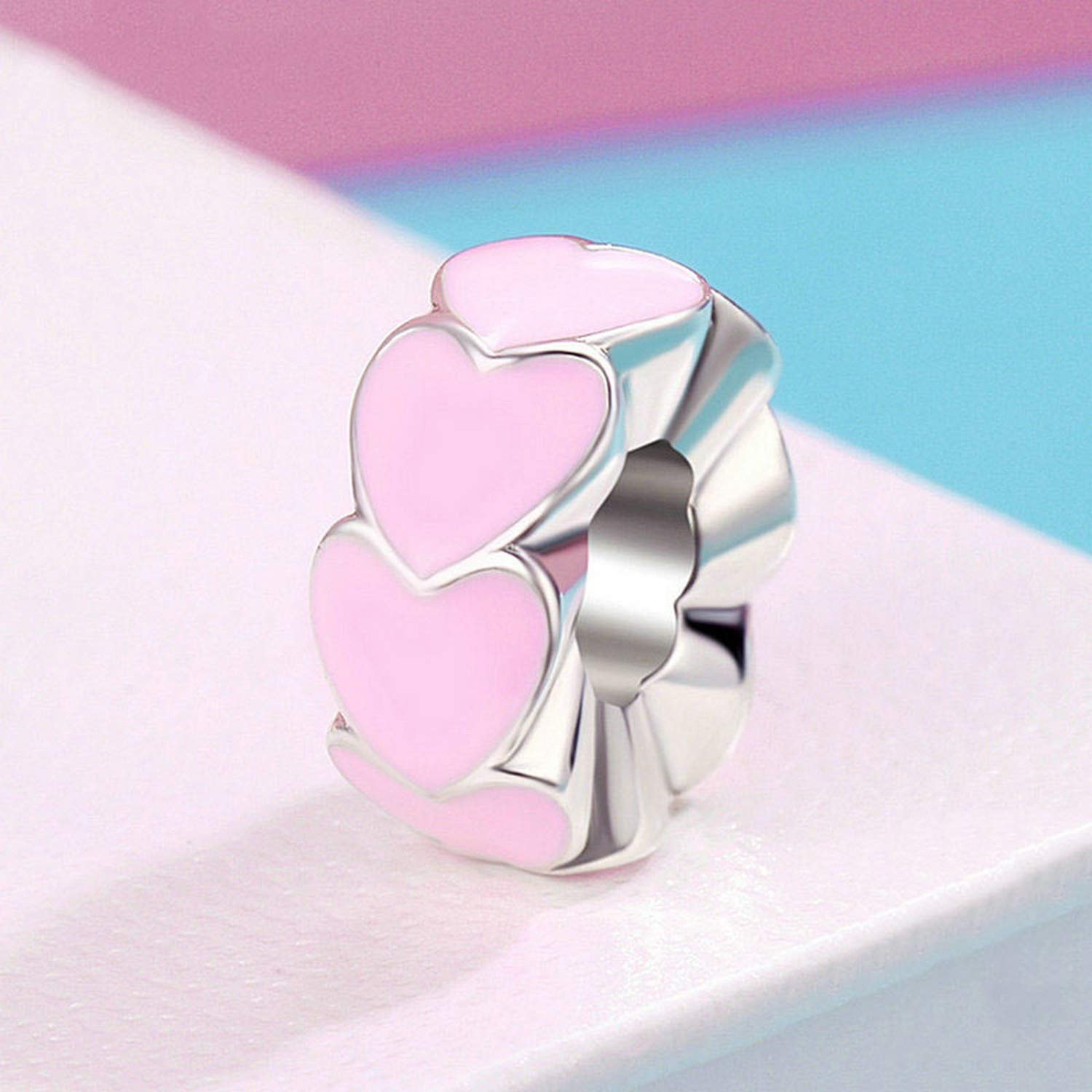 Evereena Silver Beads Bracelet for Girls Pink Sweet Love Heart Gift Spacer Womens Jewelry