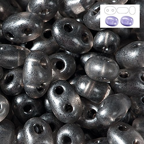 Preciosa Twin Czech Glass Seed Beads Transparent Grey Terra Pearl 5x2.5mm Package of 50 grams ()