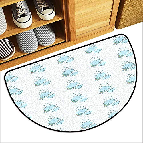 DILITECK Outdoor Doormat I Love You Blue Valentine Cloud Characters with Hearts and Rainbows Sweet Couples All Season General W24 xL16 Pale Blue Multicolor